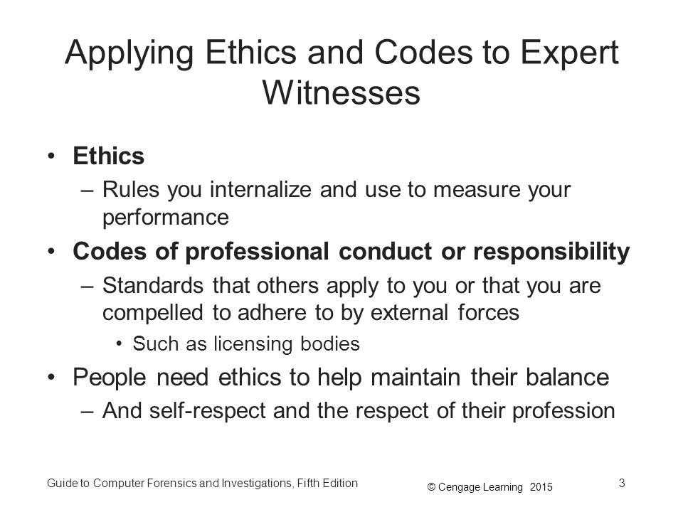 Applying Ethics and Codes to Expert Witnesses