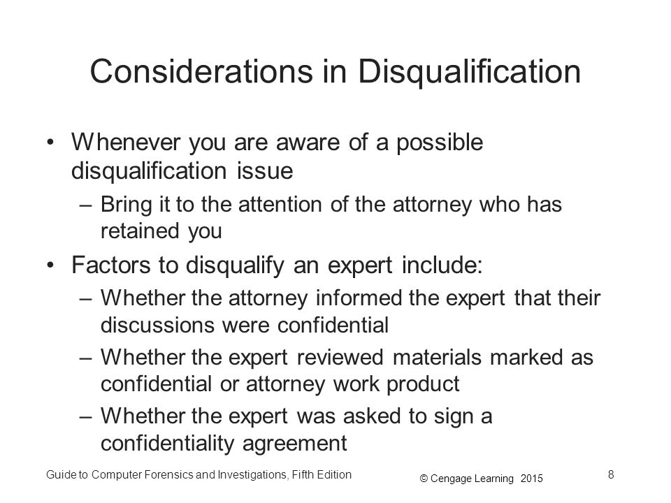 Considerations in Disqualification