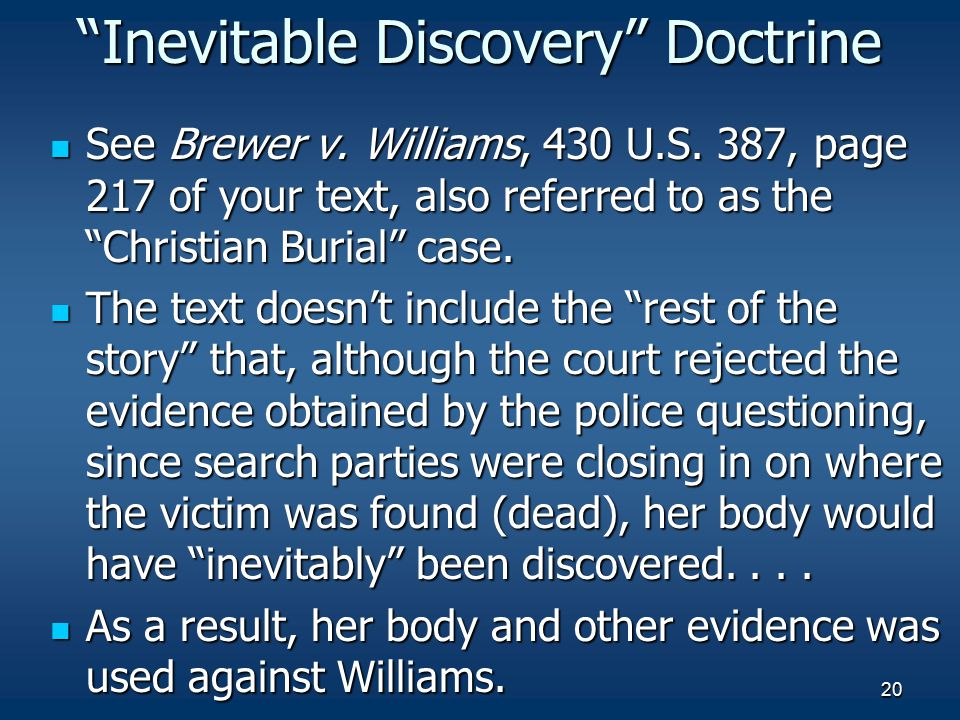 Inevitable Discovery Doctrine