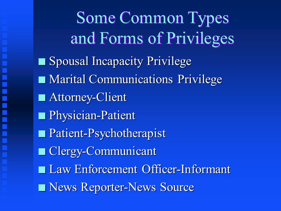 Some Common Types and Forms of Privileges