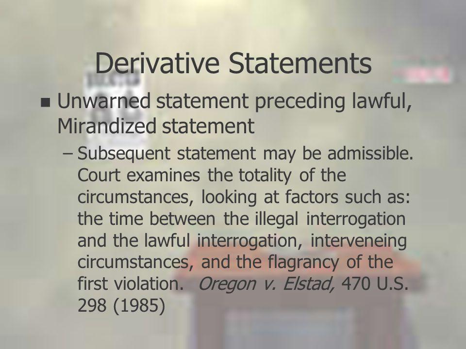 Derivative Statements