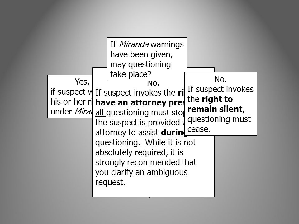 If Miranda warnings have been given, may questioning take place
