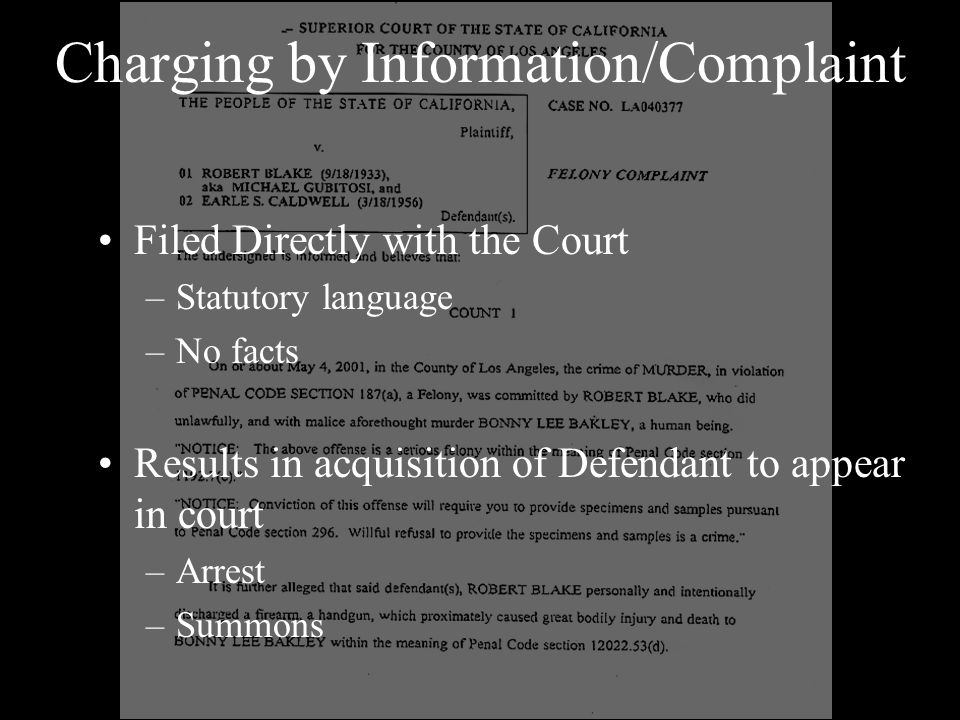 Charging by Information/Complaint