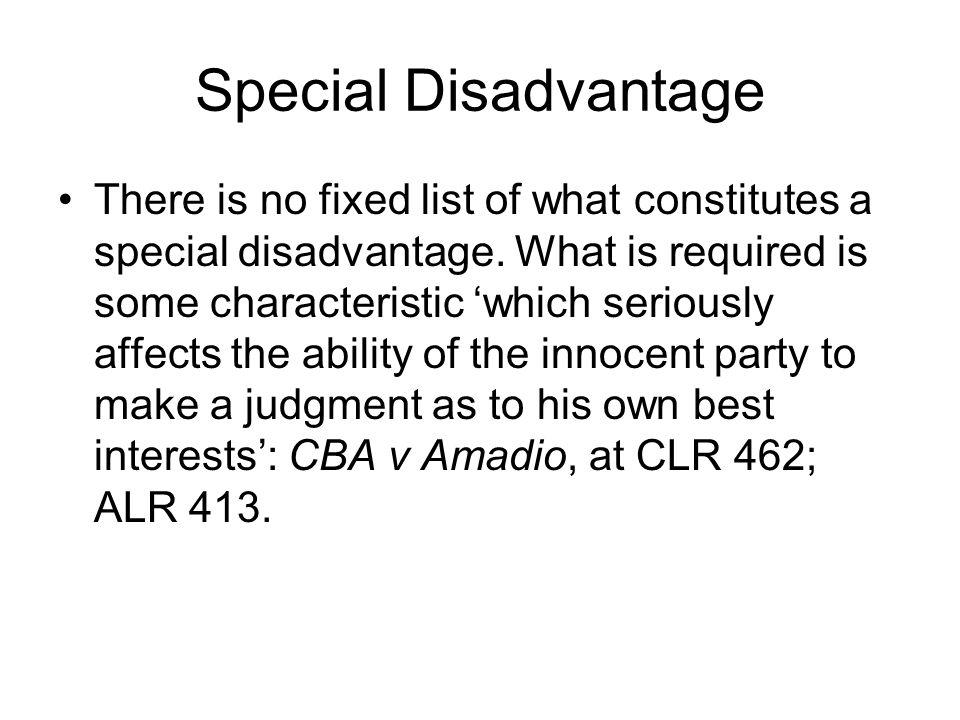 Special Disadvantage