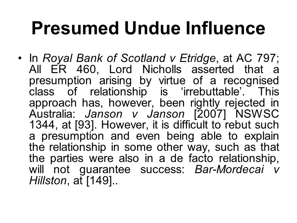 Presumed Undue Influence