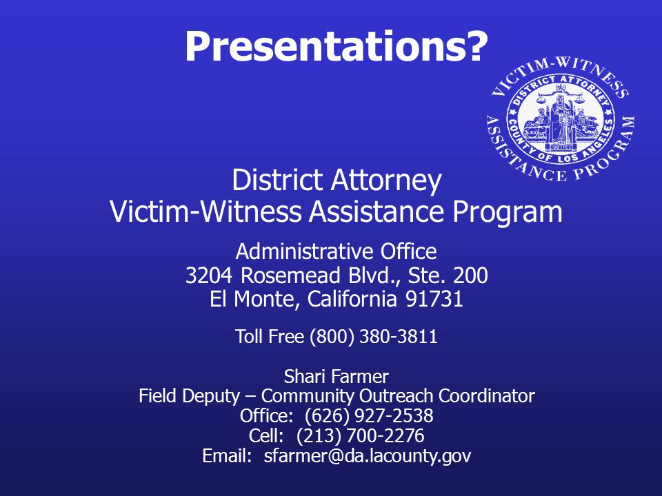 Presentations District Attorney Victim-Witness Assistance Program