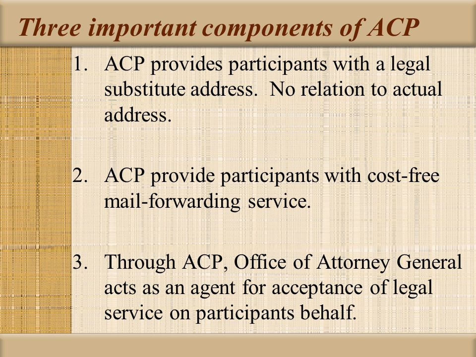 Three important components of ACP