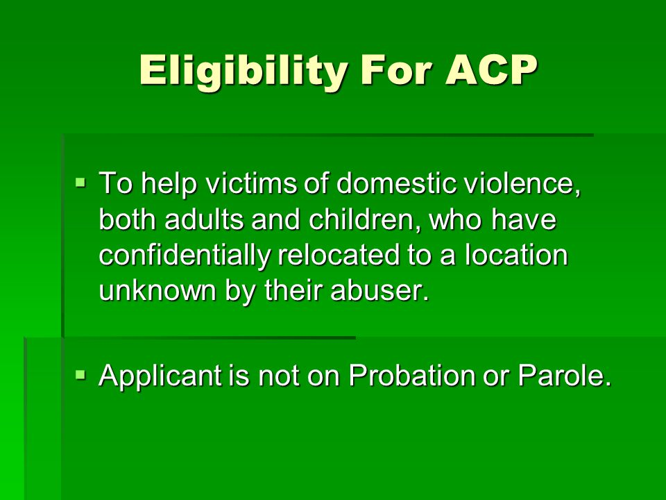 Eligibility For ACP