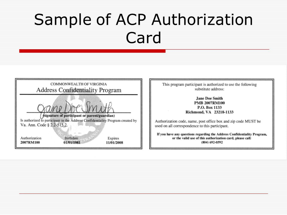 Sample of ACP Authorization Card