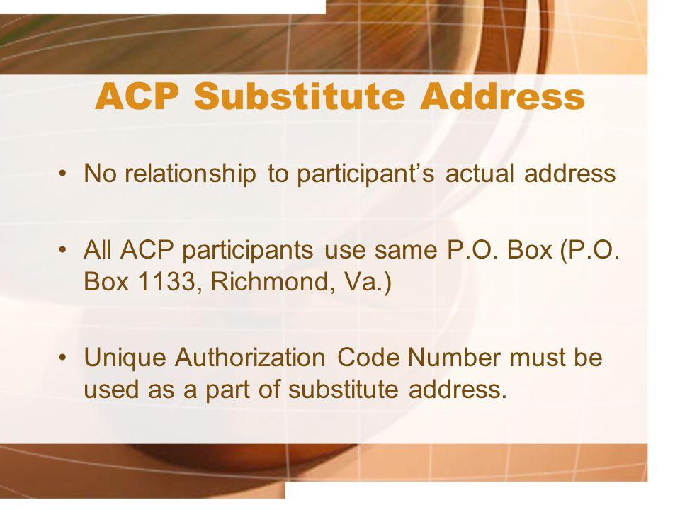 ACP Substitute Address