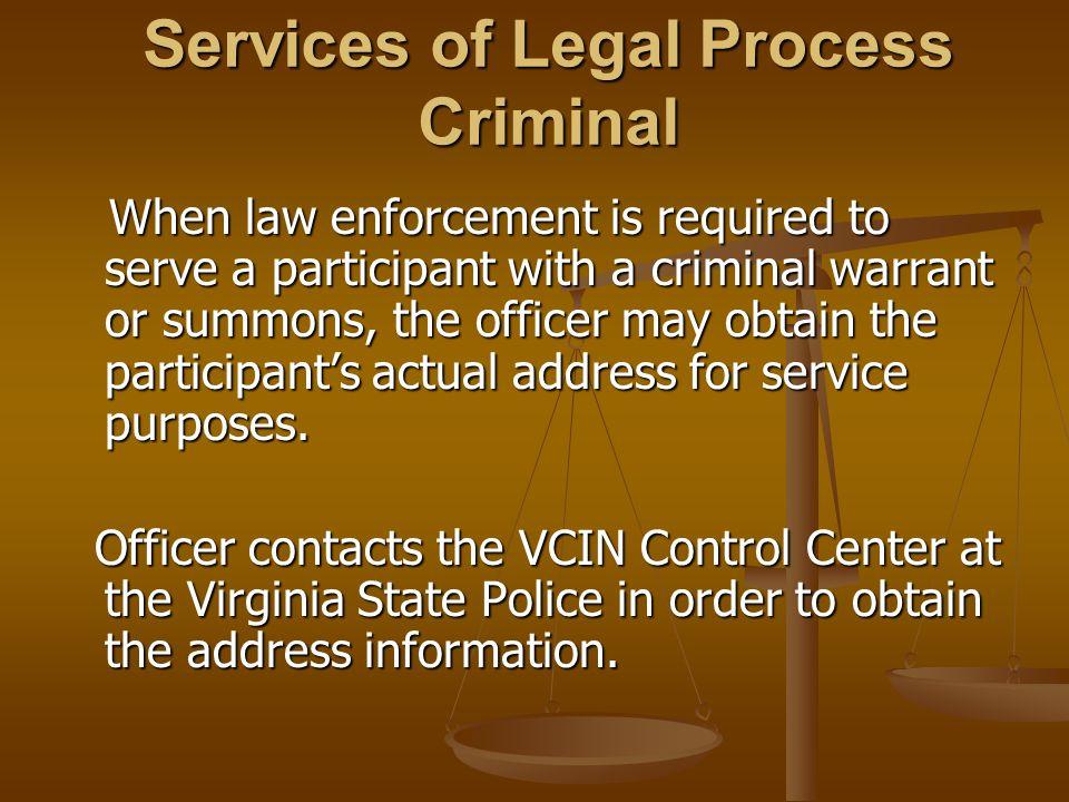 Services of Legal Process Criminal