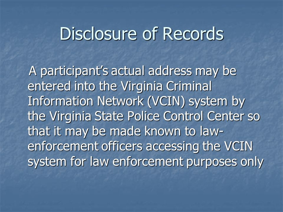 Disclosure of Records