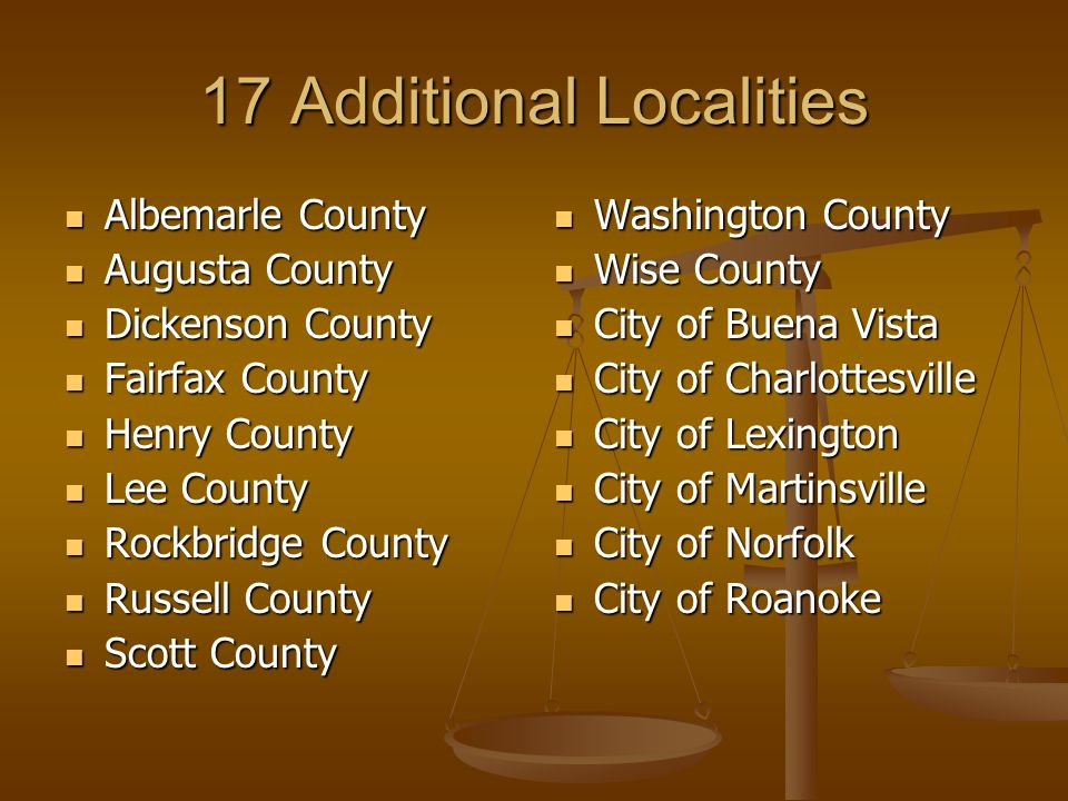 17 Additional Localities