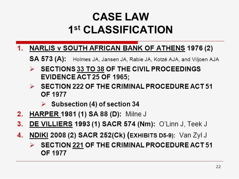 CASE LAW 1st CLASSIFICATION