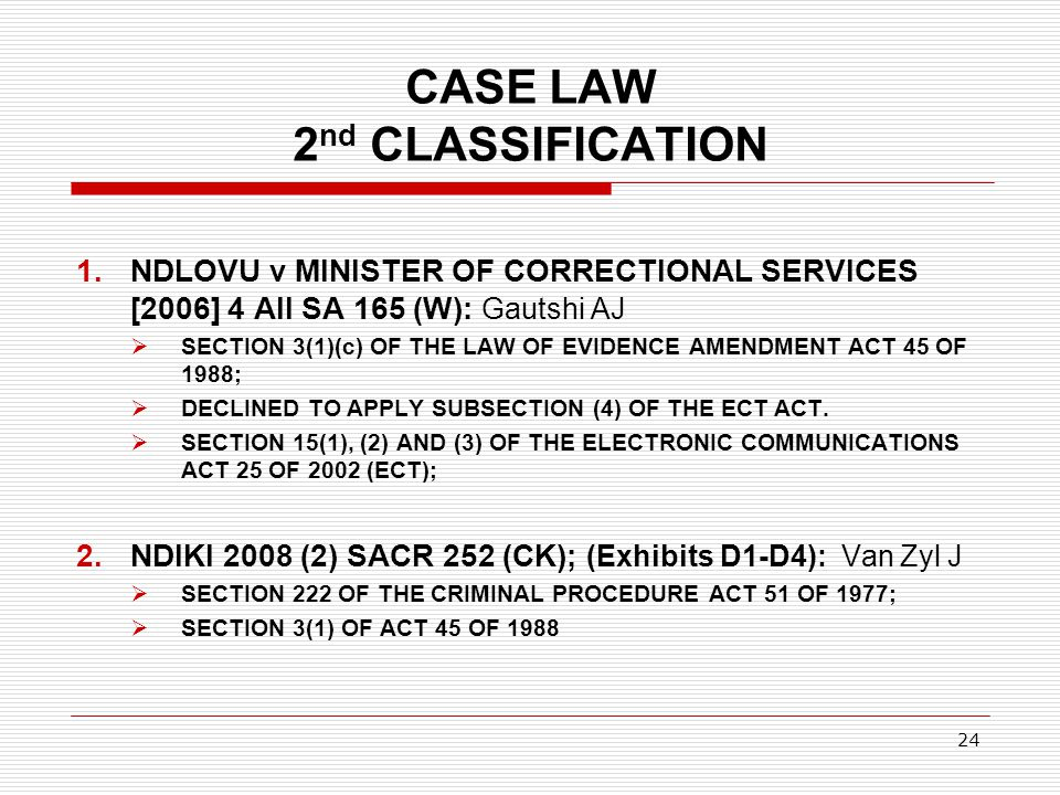 CASE LAW 2nd CLASSIFICATION