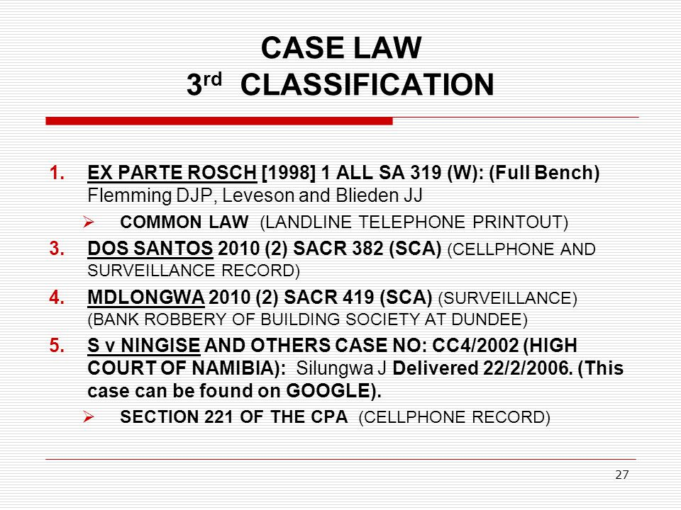 CASE LAW 3rd CLASSIFICATION