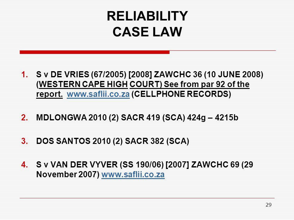 RELIABILITY CASE LAW