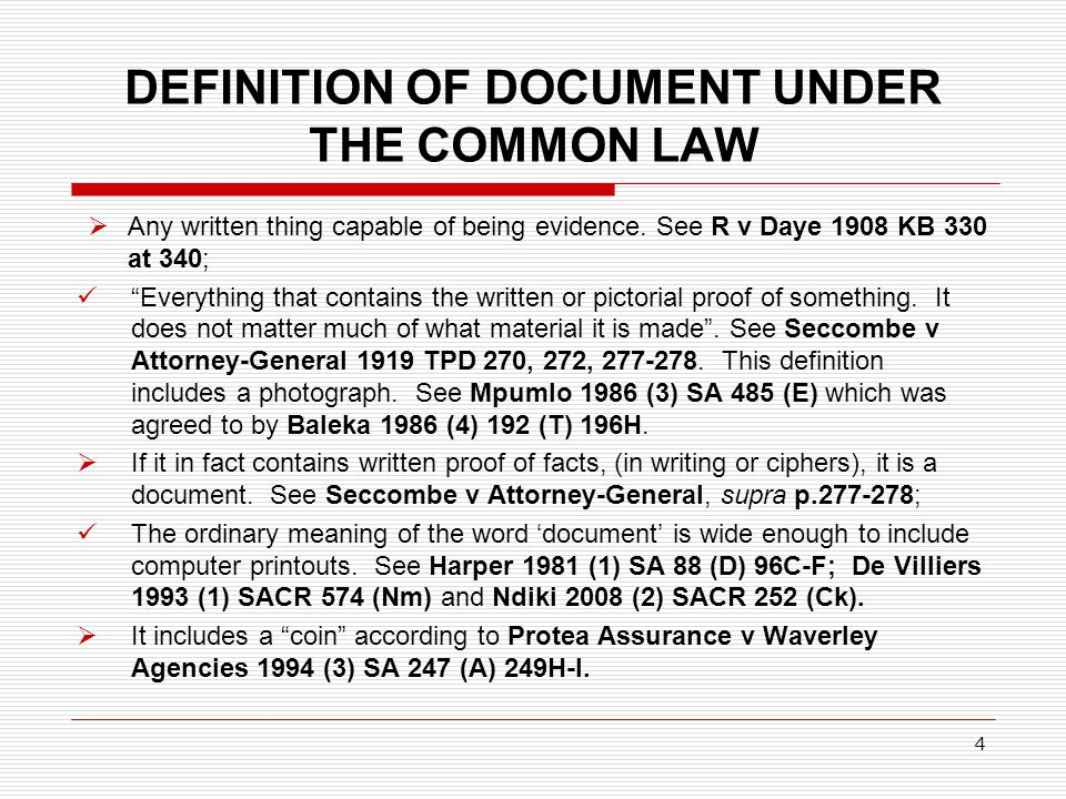 DEFINITION OF DOCUMENT UNDER THE COMMON LAW