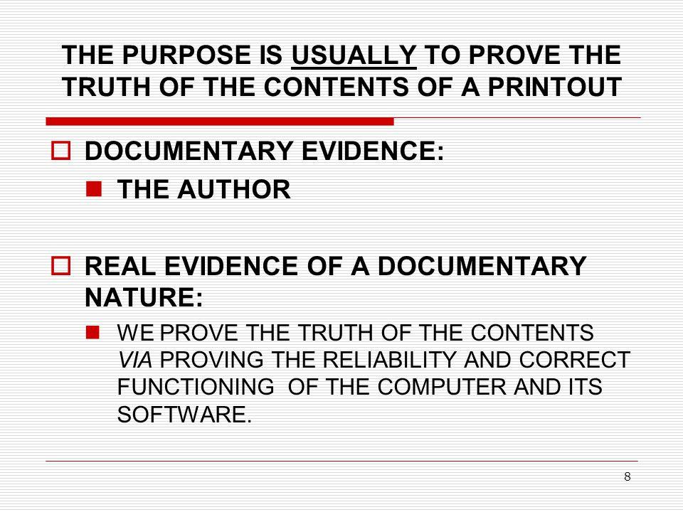 DOCUMENTARY EVIDENCE: THE AUTHOR
