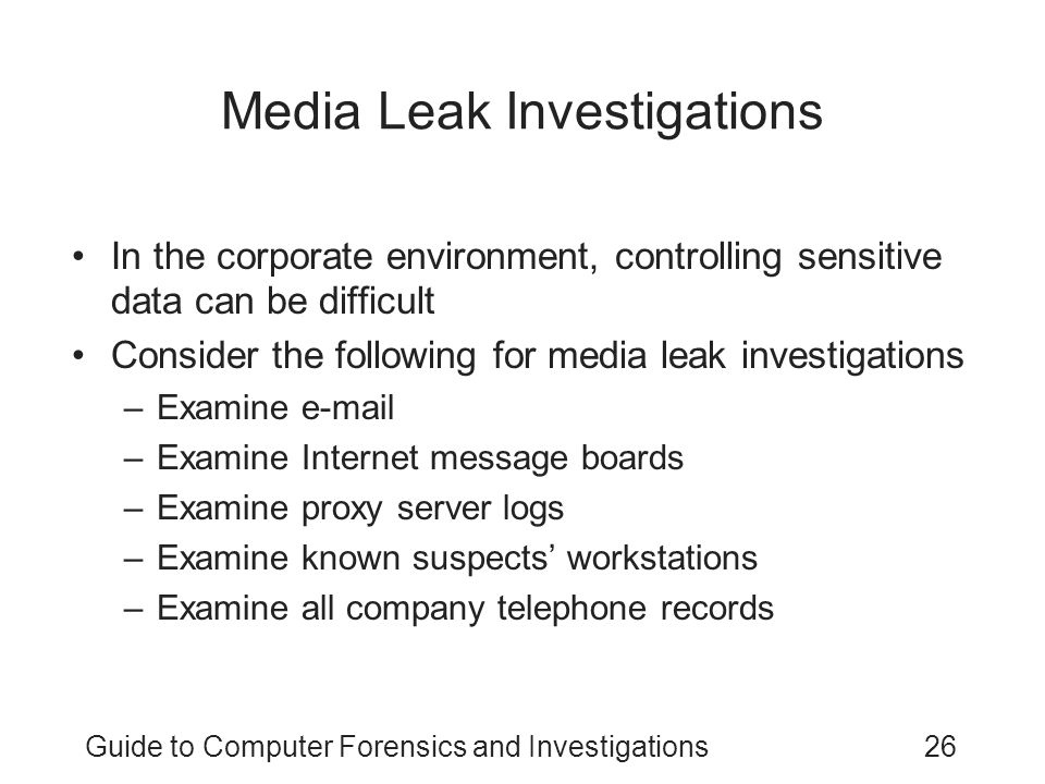 Media Leak Investigations