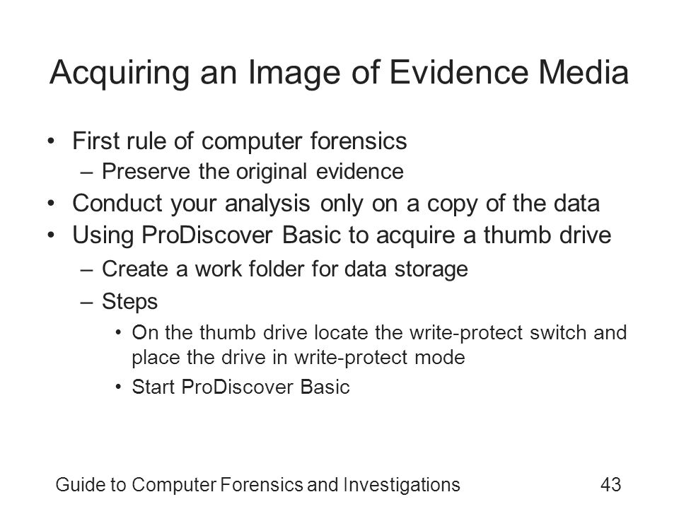 Acquiring an Image of Evidence Media