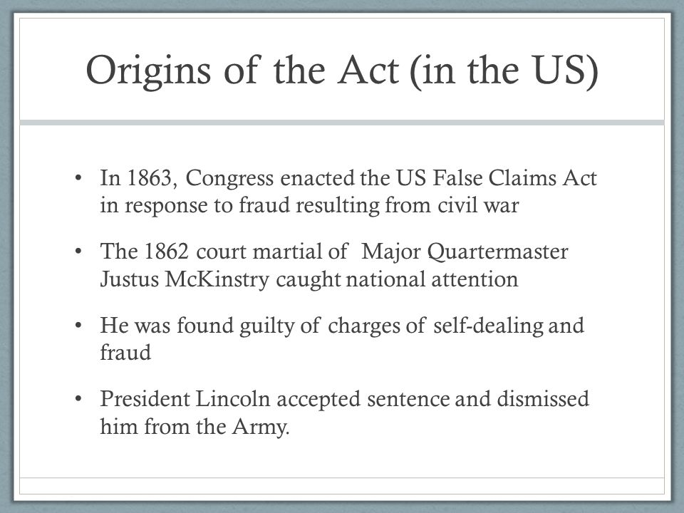 Origins of the Act (in the US)