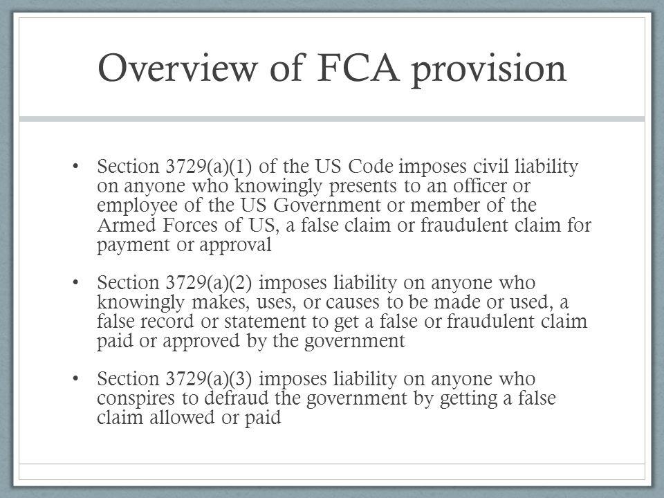 Overview of FCA provision
