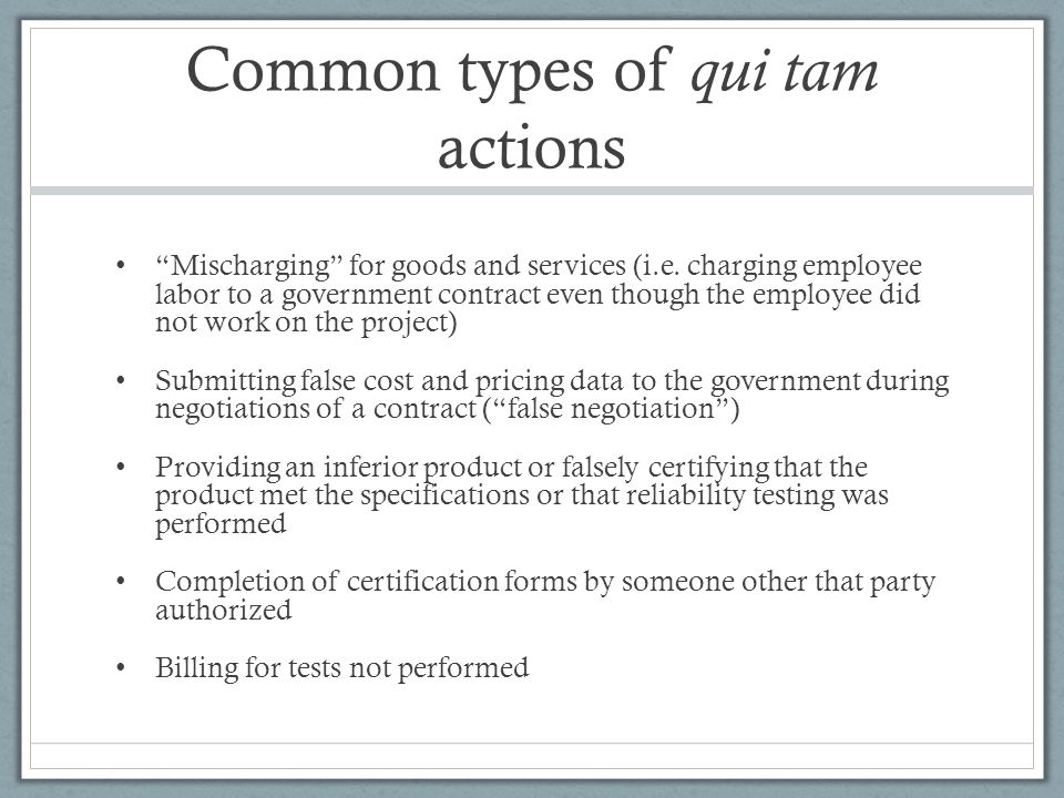 Common types of qui tam actions