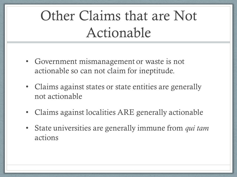 Other Claims that are Not Actionable