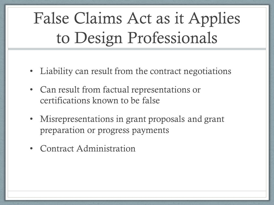 False Claims Act as it Applies to Design Professionals