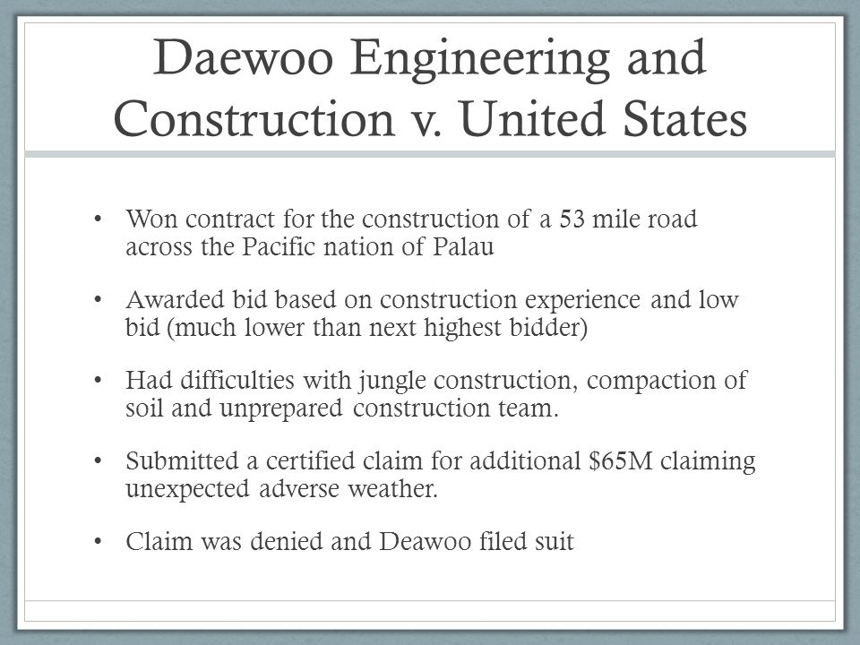 Daewoo Engineering and Construction v. United States