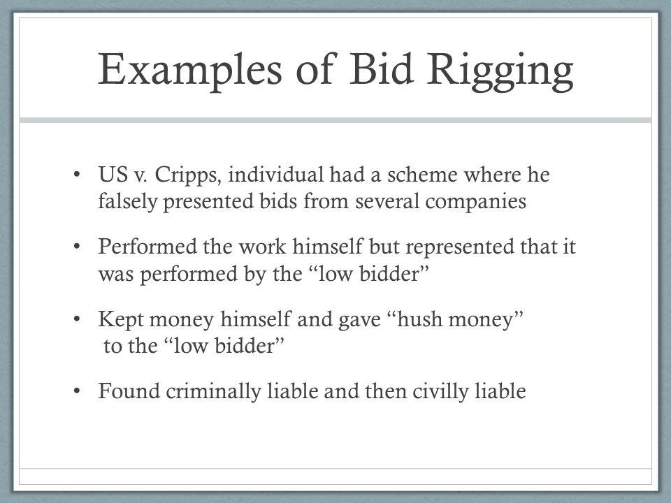 Examples of Bid Rigging