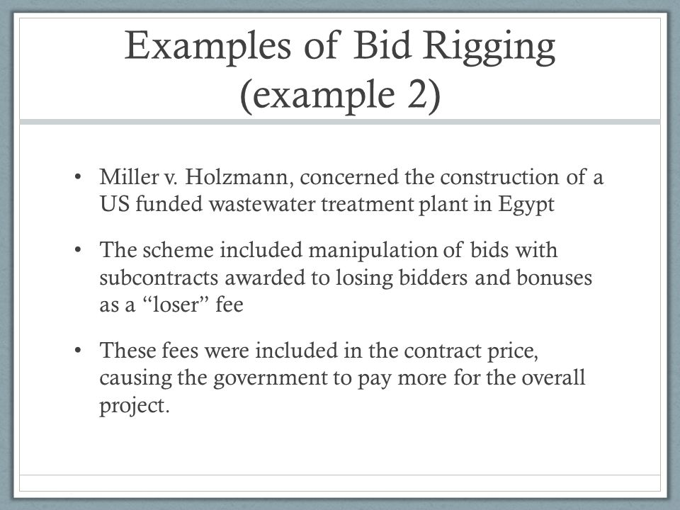 Examples of Bid Rigging (example 2)