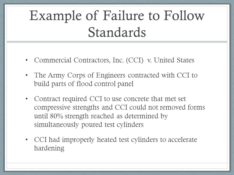 Example of Failure to Follow Standards