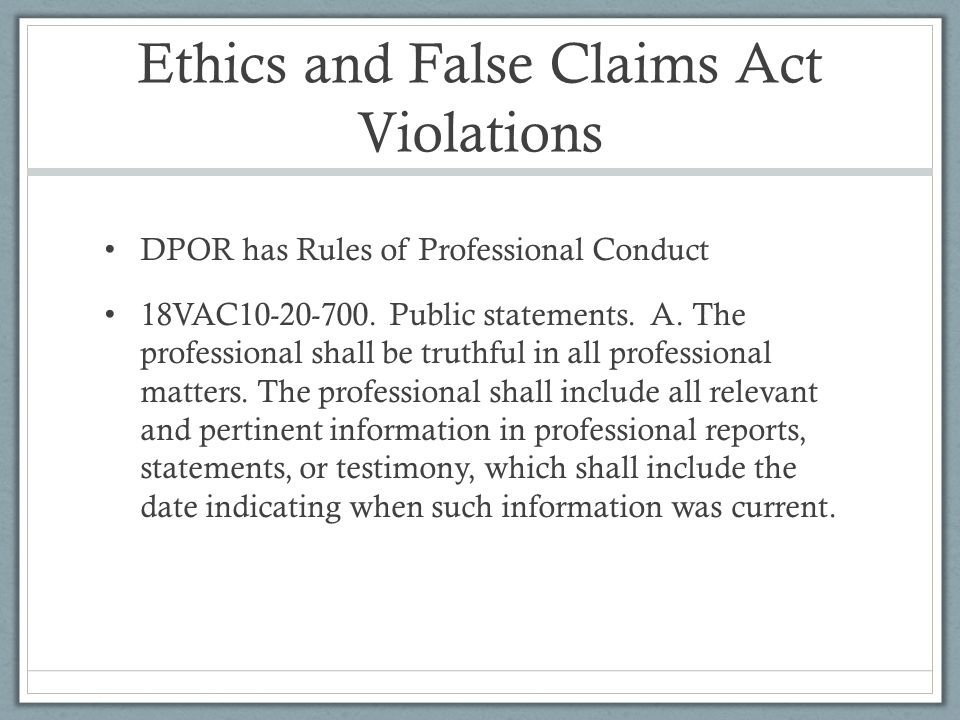 Ethics and False Claims Act Violations
