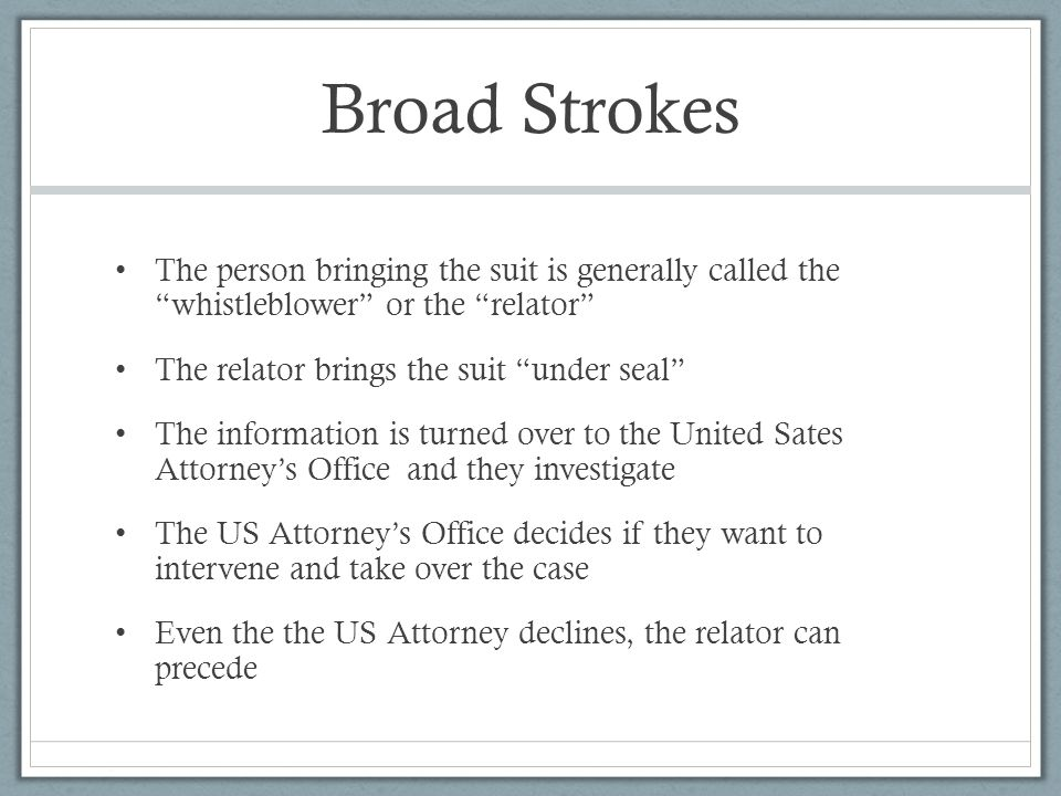 Broad Strokes The person bringing the suit is generally called the whistleblower or the relator