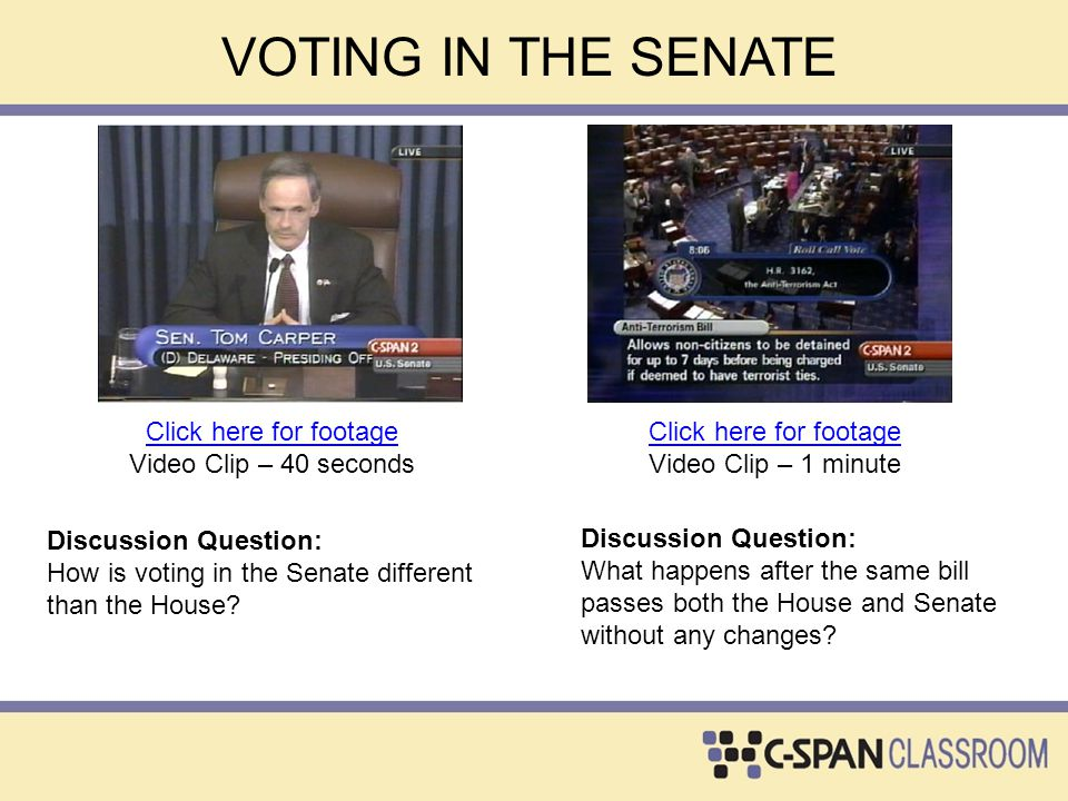 VOTING IN THE SENATE Click here for footage Video Clip – 40 seconds