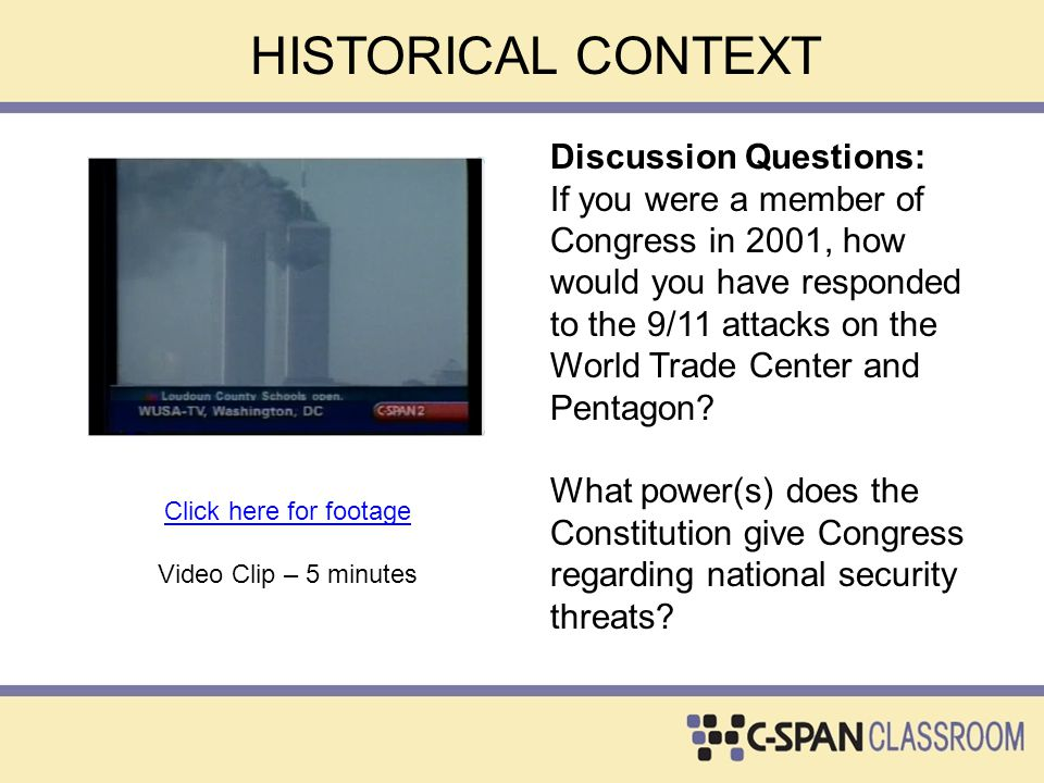 HISTORICAL CONTEXT Discussion Questions: