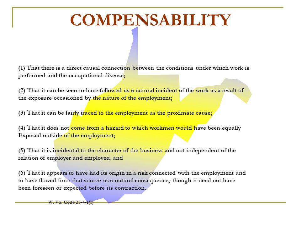 COMPENSABILITY (1) That there is a direct causal connection between the conditions under which work is.