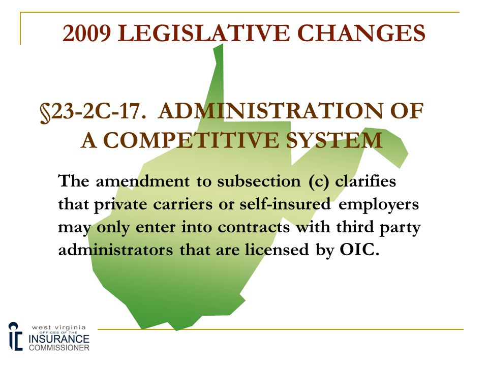 §23-2C-17. ADMINISTRATION OF A COMPETITIVE SYSTEM