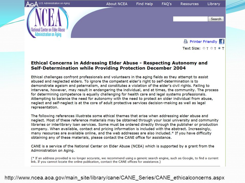 http://www.ncea.aoa.gov/main_site/library/cane/CANE_Series/CANE_ethicalconcerns.aspx