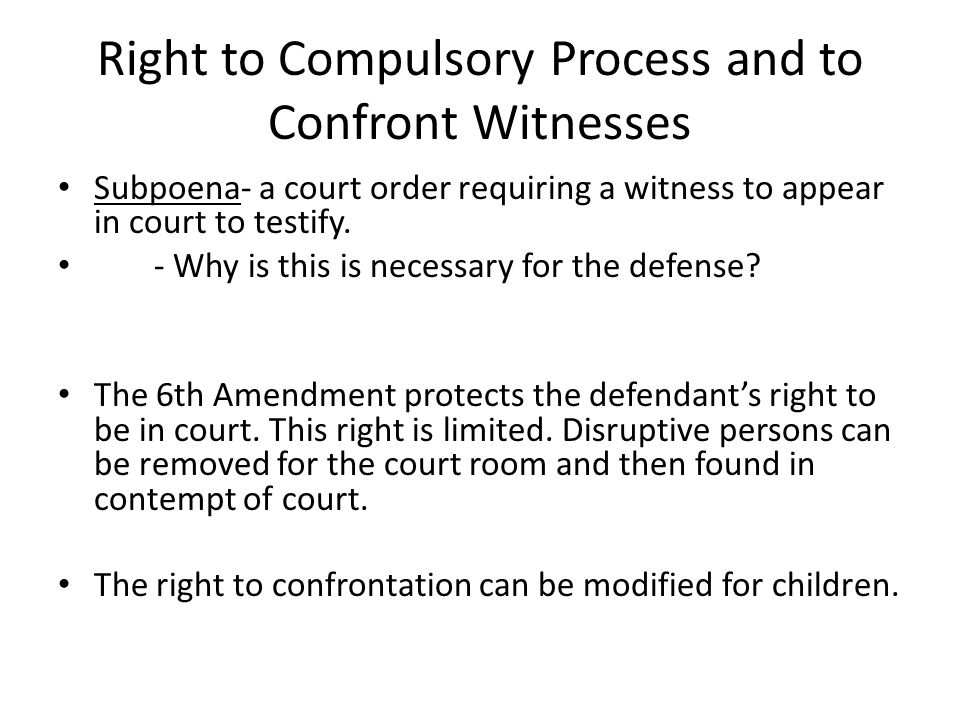 Right to Compulsory Process and to Confront Witnesses
