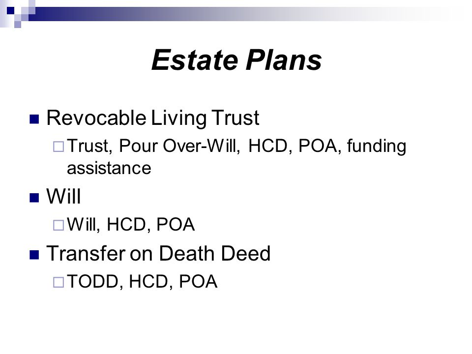 Estate Plans Revocable Living Trust Will Transfer on Death Deed