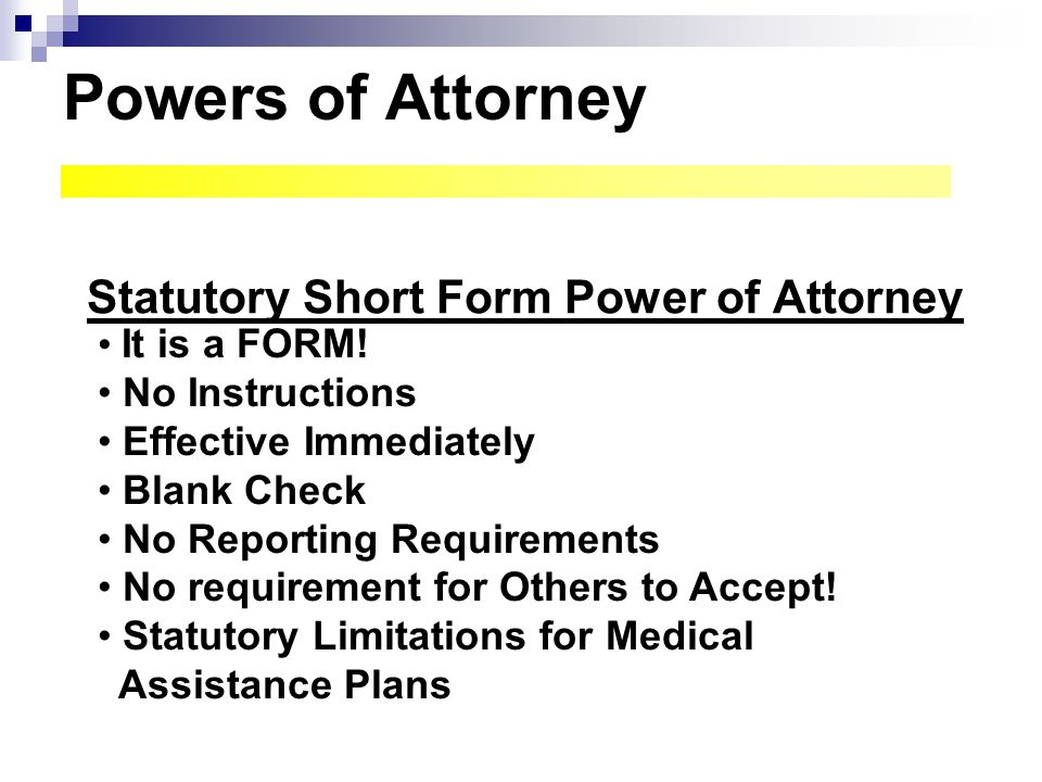 Statutory Short Form Power of Attorney