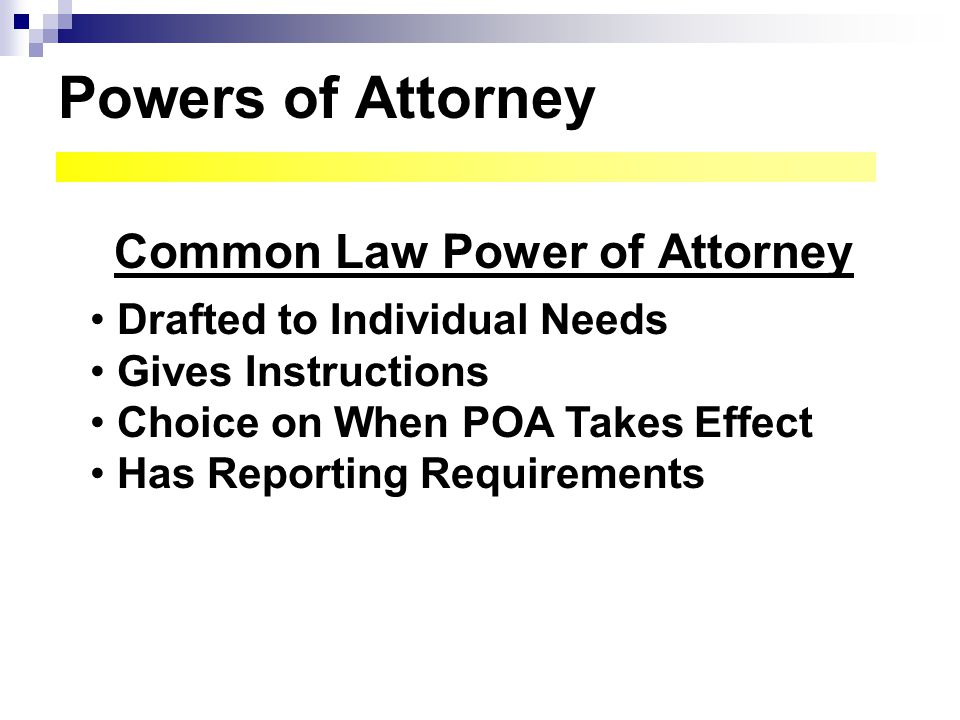 Common Law Power of Attorney