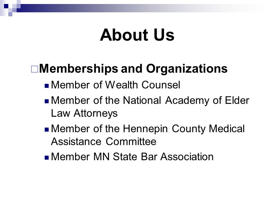 About Us Memberships and Organizations Member of Wealth Counsel