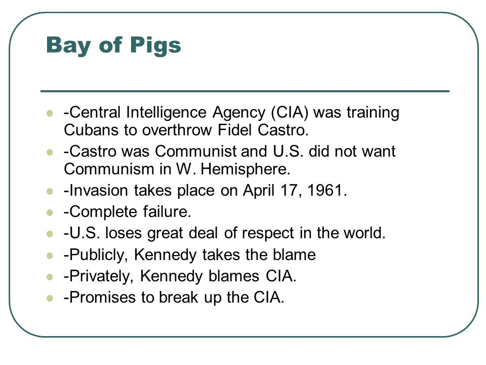 Bay of Pigs -Central Intelligence Agency (CIA) was training Cubans to overthrow Fidel Castro.