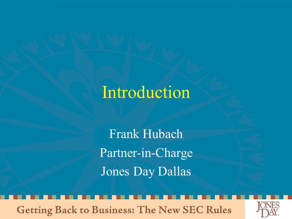 Frank Hubach Partner-in-Charge Jones Day Dallas