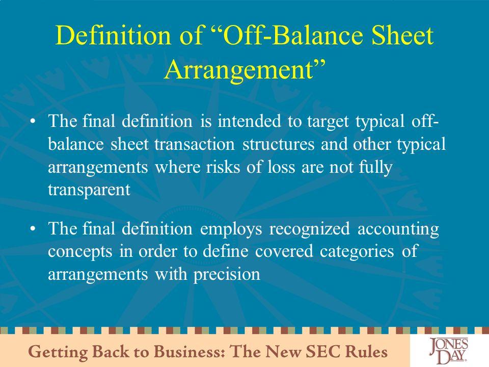 Definition of Off-Balance Sheet Arrangement