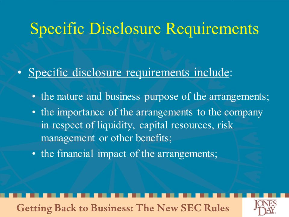 Specific Disclosure Requirements